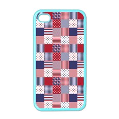 USA Americana Patchwork Red White & Blue Quilt Apple iPhone 4 Case (Color)