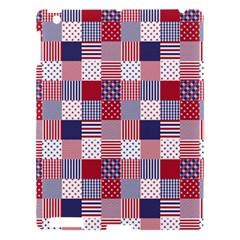 USA Americana Patchwork Red White & Blue Quilt Apple iPad 3/4 Hardshell Case