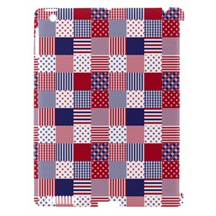 USA Americana Patchwork Red White & Blue Quilt Apple iPad 3/4 Hardshell Case (Compatible with Smart Cover)