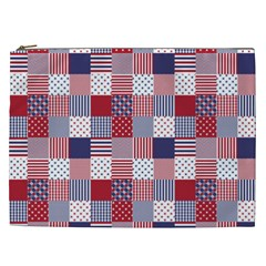 USA Americana Patchwork Red White & Blue Quilt Cosmetic Bag (XXL)