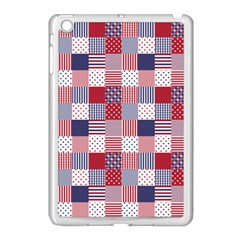 USA Americana Patchwork Red White & Blue Quilt Apple iPad Mini Case (White)