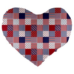 USA Americana Patchwork Red White & Blue Quilt Large 19  Premium Heart Shape Cushions