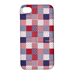 USA Americana Patchwork Red White & Blue Quilt Apple iPhone 4/4S Hardshell Case with Stand