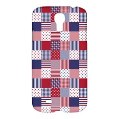 USA Americana Patchwork Red White & Blue Quilt Samsung Galaxy S4 I9500/I9505 Hardshell Case