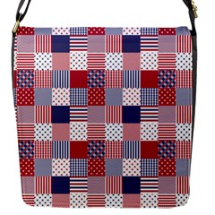 USA Americana Patchwork Red White & Blue Quilt Flap Messenger Bag (S)