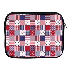 USA Americana Patchwork Red White & Blue Quilt Apple iPad 2/3/4 Zipper Cases