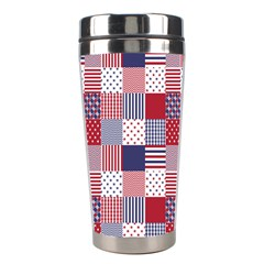 USA Americana Patchwork Red White & Blue Quilt Stainless Steel Travel Tumblers