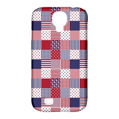 USA Americana Patchwork Red White & Blue Quilt Samsung Galaxy S4 Classic Hardshell Case (PC+Silicone)