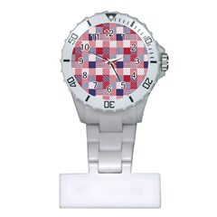 USA Americana Patchwork Red White & Blue Quilt Plastic Nurses Watch