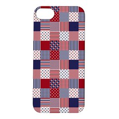 USA Americana Patchwork Red White & Blue Quilt Apple iPhone 5S/ SE Hardshell Case