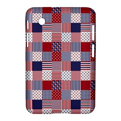 USA Americana Patchwork Red White & Blue Quilt Samsung Galaxy Tab 2 (7 ) P3100 Hardshell Case