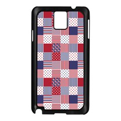 USA Americana Patchwork Red White & Blue Quilt Samsung Galaxy Note 3 N9005 Case (Black)