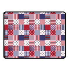 USA Americana Patchwork Red White & Blue Quilt Double Sided Fleece Blanket (Small)