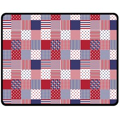 USA Americana Patchwork Red White & Blue Quilt Double Sided Fleece Blanket (Medium)