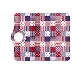 USA Americana Patchwork Red White & Blue Quilt Kindle Fire HDX 8.9  Flip 360 Case