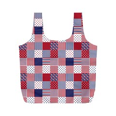 USA Americana Patchwork Red White & Blue Quilt Full Print Recycle Bags (M)