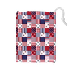 USA Americana Patchwork Red White & Blue Quilt Drawstring Pouches (Large)