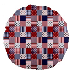 USA Americana Patchwork Red White & Blue Quilt Large 18  Premium Flano Round Cushions