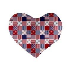 USA Americana Patchwork Red White & Blue Quilt Standard 16  Premium Flano Heart Shape Cushions