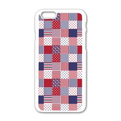 USA Americana Patchwork Red White & Blue Quilt Apple iPhone 6/6S White Enamel Case