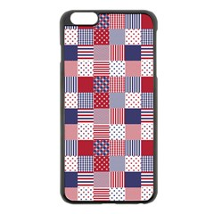 USA Americana Patchwork Red White & Blue Quilt Apple iPhone 6 Plus/6S Plus Black Enamel Case