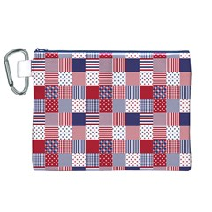 USA Americana Patchwork Red White & Blue Quilt Canvas Cosmetic Bag (XL)