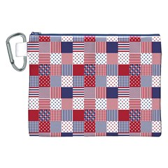 USA Americana Patchwork Red White & Blue Quilt Canvas Cosmetic Bag (XXL)