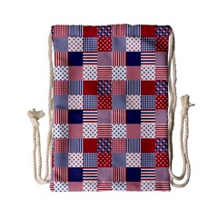 USA Americana Patchwork Red White & Blue Quilt Drawstring Bag (Small)