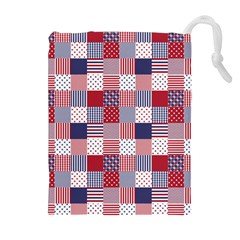 USA Americana Patchwork Red White & Blue Quilt Drawstring Pouches (Extra Large)