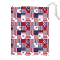 USA Americana Patchwork Red White & Blue Quilt Drawstring Pouches (XXL)