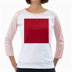 USA Flag Red Blood Red classic solid color  Girly Raglans