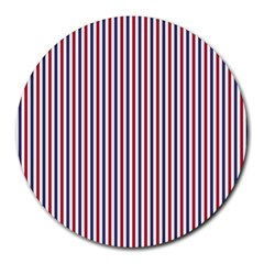 USA Flag Red and Flag Blue Narrow Thin Stripes  Round Mousepads