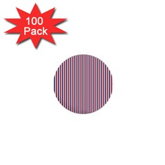 USA Flag Red and Flag Blue Narrow Thin Stripes  1  Mini Buttons (100 pack)