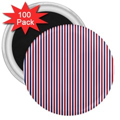 USA Flag Red and Flag Blue Narrow Thin Stripes  3  Magnets (100 pack)