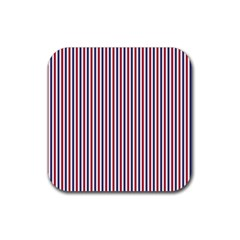 USA Flag Red and Flag Blue Narrow Thin Stripes  Rubber Coaster (Square)