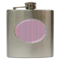 USA Flag Red and Flag Blue Narrow Thin Stripes  Hip Flask (6 oz)