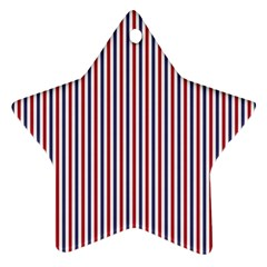 USA Flag Red and Flag Blue Narrow Thin Stripes  Star Ornament (Two Sides)