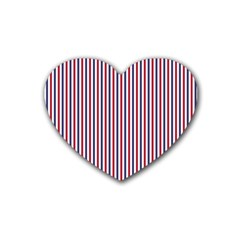 USA Flag Red and Flag Blue Narrow Thin Stripes  Heart Coaster (4 pack)
