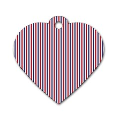 USA Flag Red and Flag Blue Narrow Thin Stripes  Dog Tag Heart (Two Sides)