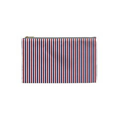 USA Flag Red and Flag Blue Narrow Thin Stripes  Cosmetic Bag (Small)