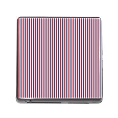 USA Flag Red and Flag Blue Narrow Thin Stripes  Memory Card Reader (Square)