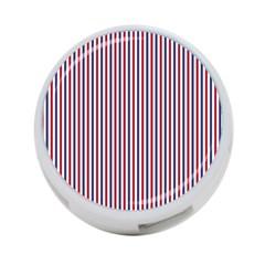 USA Flag Red and Flag Blue Narrow Thin Stripes  4-Port USB Hub (Two Sides)