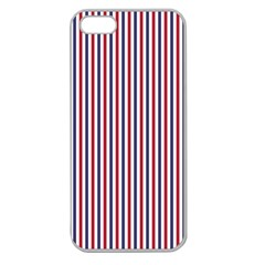 USA Flag Red and Flag Blue Narrow Thin Stripes  Apple Seamless iPhone 5 Case (Clear)