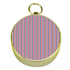 USA Flag Red and Flag Blue Narrow Thin Stripes  Gold Compasses