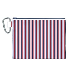 USA Flag Red and Flag Blue Narrow Thin Stripes  Canvas Cosmetic Bag (L)