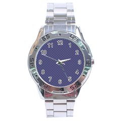 USA Flag White Stars on Flag Blue Stainless Steel Analogue Watch