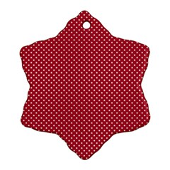Usa Flag White Stars On American Flag Red Ornament (snowflake)