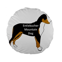 Entlebucher Mt Dog Name Silo Color Standard 15  Premium Flano Round Cushions