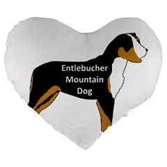 Entlebucher Mt Dog Name Silo Color Large 19  Premium Flano Heart Shape Cushions