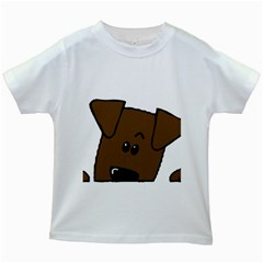 Peeping Chocolate Lab Kids White T-Shirts